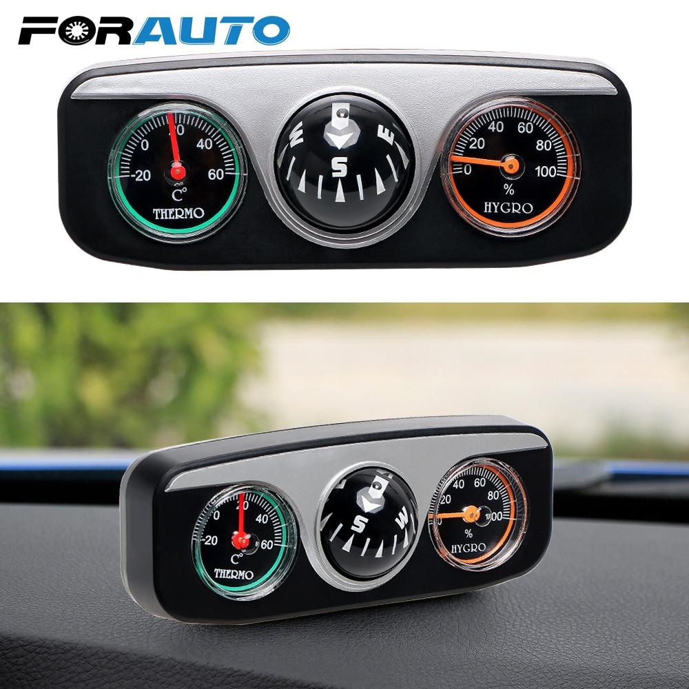 FORAUTO 3 in 1 Guide Ball Auto Kompass Thermometer Hygrometer Auto Ornament Auto Styling Innen Zubehör Für Boot Fahrzeuge
