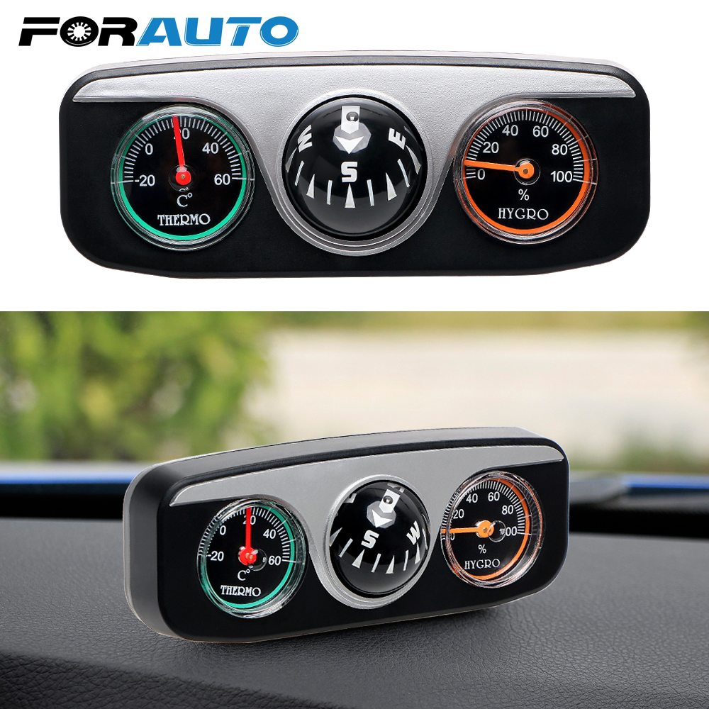 FORAUTO 3 in 1 Guide Ball Car Compass Thermometer Hygrometer Car Ornament Car Styling Interior Accessories For Boat Vehicles