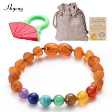 все цены на HIYONG Baltic Amber Teething Bracelet/Anklet for Baby Chakra bead Natural Amber  Handmade Original Bracelets Jewelry Wholesale онлайн
