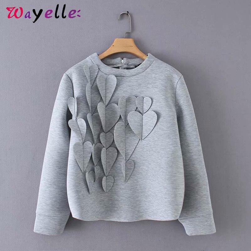womens hoodies pullover 2019 autumn winter heart long sleeve casual women O-Neck korean