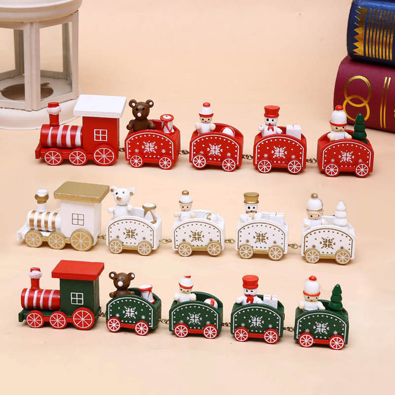New Christmas Train Decor Wood Toy Christmas For Home With Santa/bear Xmas Kid Toys Gift Ornament New Year Gift For Christmas