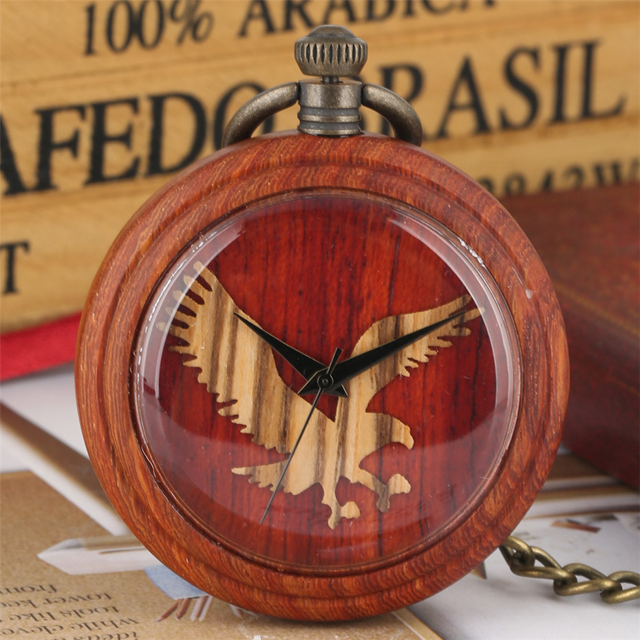 Antique Retro Wood Watch Quartz Movement Red Wooden Pendant Watch With Bronze Hanging Chain Flying Eagle Display Pocket Clock