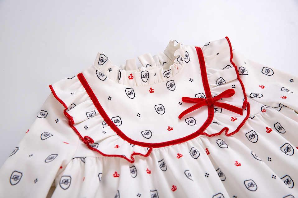 Pettigirlฤดูใบไม้ร่วงสีขาวพิมพ์เสื้อผ้าเด็กชุดเด็กผู้หญิงชุด + กางเกงPP + Bonnetคริสต์มาสสาวชุดกับโบว์เสื้อผ้าเด็ก