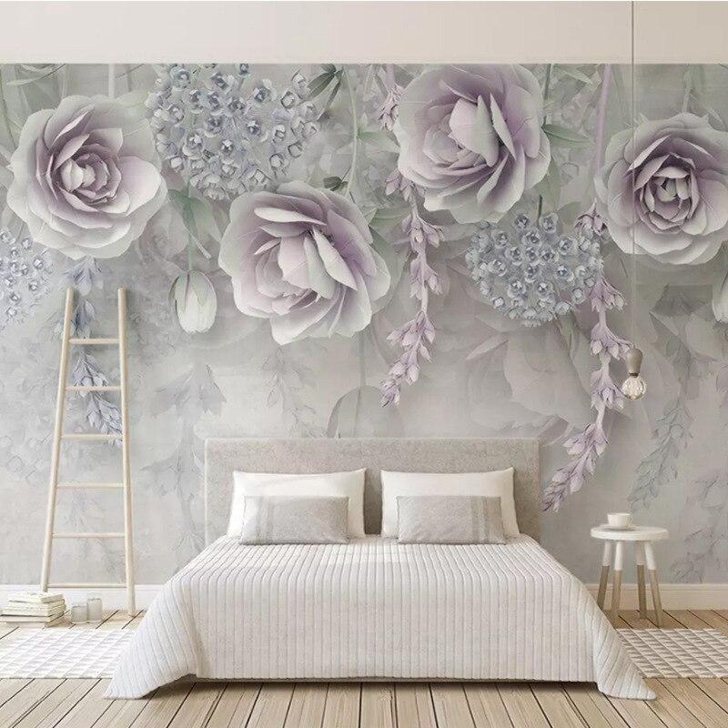 Northern European-Style Modern Minimalist Wallpaper Mural Beautiful Lavender Wisteria Flower 3D Flower Marriage House Wall Cloth