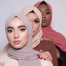 2019 musulmano Sciarpa Chiffon Delle Donne Hijab Scialli Sciarpe Testa Wrap Musulmano Testa Sciarpa di Seta Tinta Unita Hijab Silenziatore