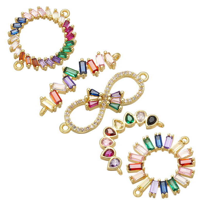 ZHUKOU Rainbow Bow Crystal Connector For Women's Necklace Earrings Bracelet DIY Connector Jewelry Accessories Model: VS425