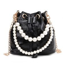 Sweet and cute small bag ladies new trend wild messenger pearl bucket handbag