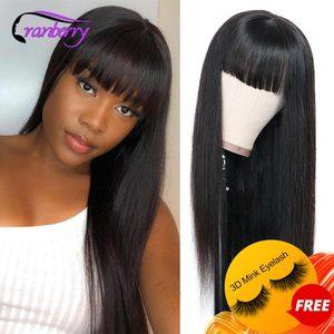 30 дюймов длинные прямые человеческие волосы парики с челкой перуанские человеческие волосы парики для женщин клюквенные волосы Remy полная м...