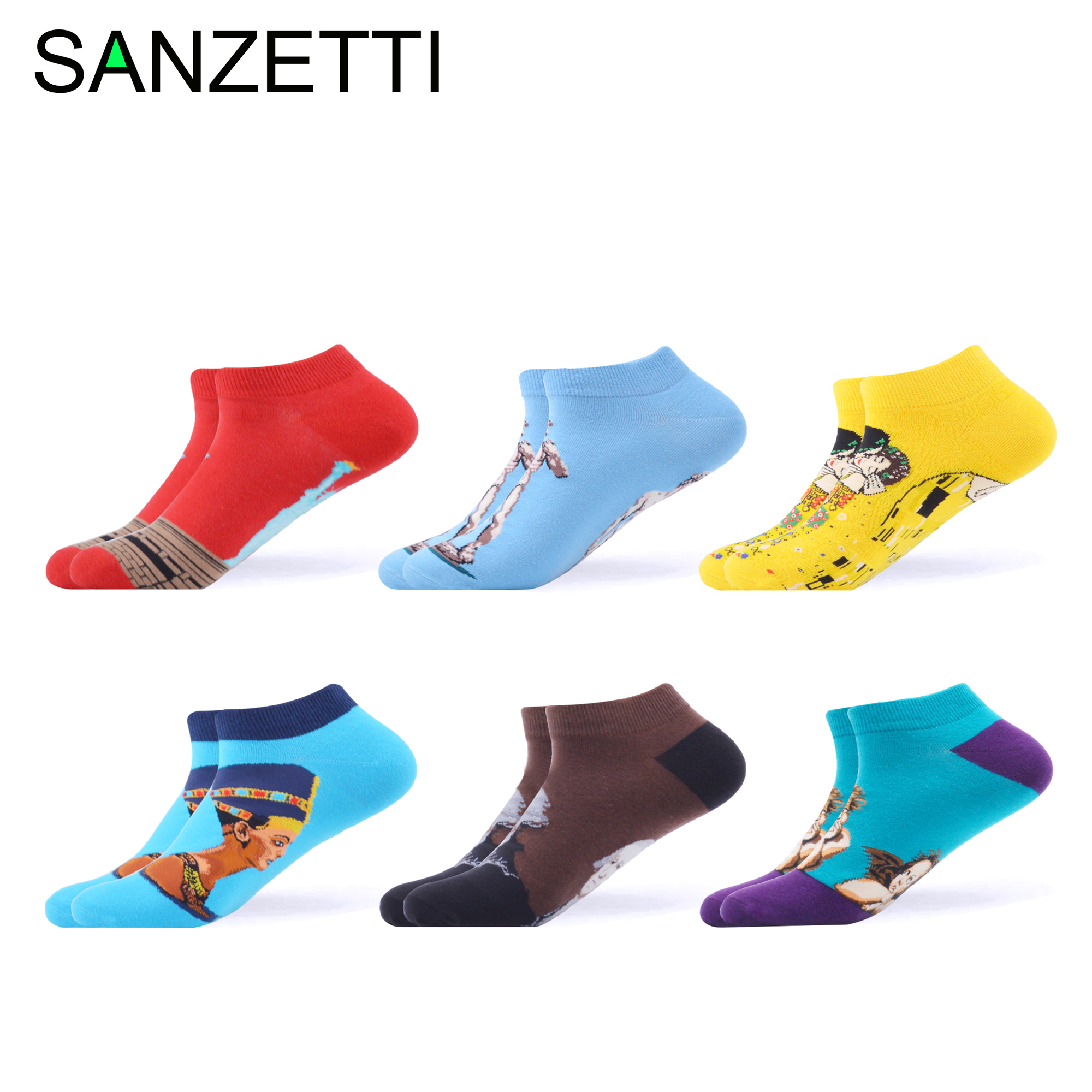 SANZETTI 6 Pair/2020 Men's Summer Happy Colorful Combed Cotton Socks Harajuku Statue Of Liberty Pattern Business Casual Socks