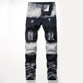 Men's Jeans Worn Hole Straight Pants Nostalgia Wash Jeans Men's Pants Ripped Jeans Denim Jeans