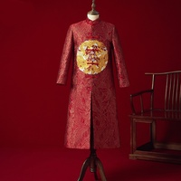 Vintage Loose Cheongsam Traditional Chinese Wedding Gown Red Satin Qipao Embroidery Dragon Costume Vestido Oriental Mens KK3020