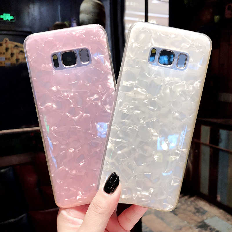 Glitter Shell Pattern Sparkle Bling Crystal Clear Case For Samsung Galaxy S7 edge S8 S9 Plus S10 Note9 Note 10 A6 J3 J5 J7 cover