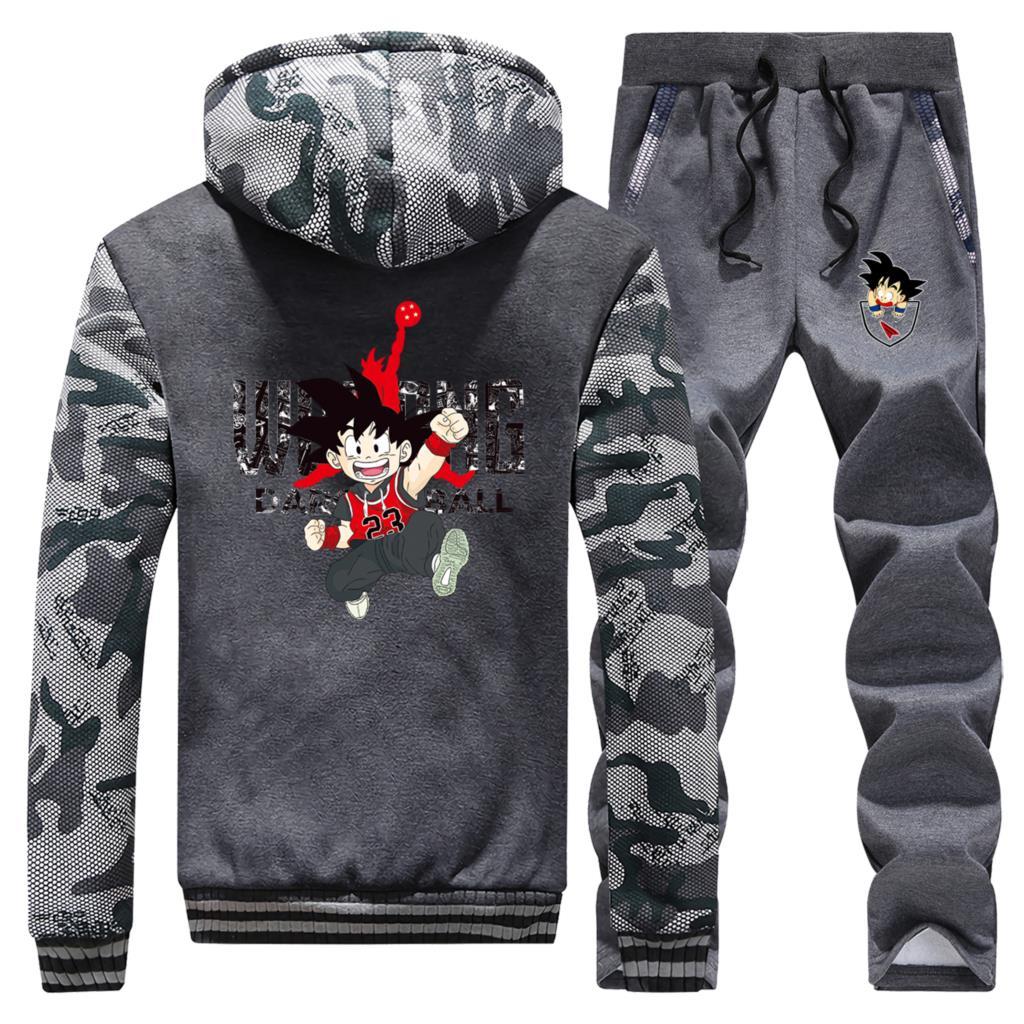 Anime Dragon Ball Coat Thick Camouflage Mens Hoodies Hip Hop Sweatshirt Warm Winter Jacket+Pant 2PC Sets Men Japanese Streetwear