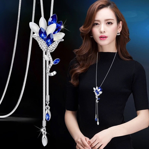 RAVIMOUR Fashion Long Chain Sweater Necklaces & Pendants for Women Blue Opal Rhinestone Flower Pendant Necklace Female Jewelry(China)