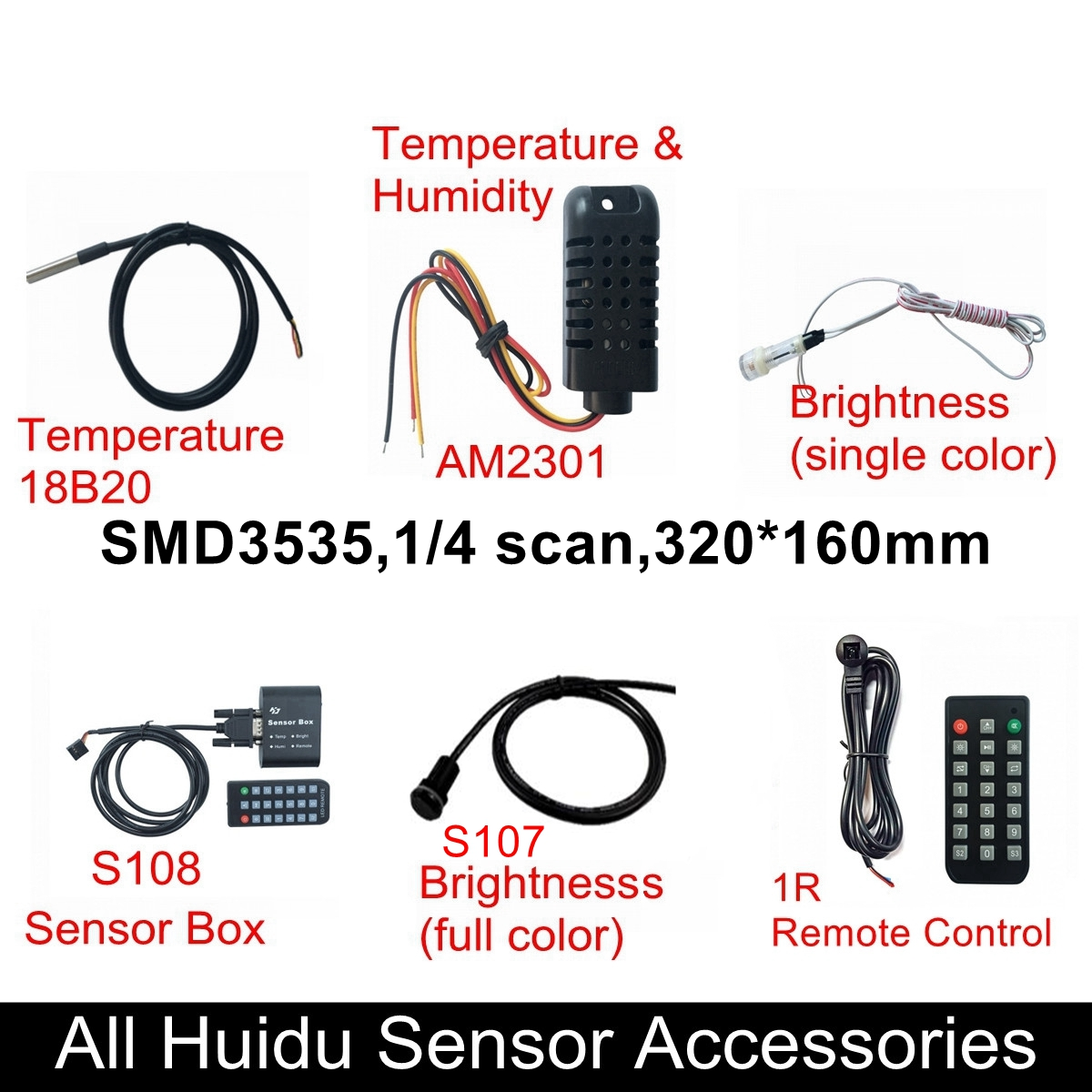 Huidu Sensors Temperature 18B20 Temperature And Humidity AM2301 Single RGB Brightness S107 S108 Box 1R Remote