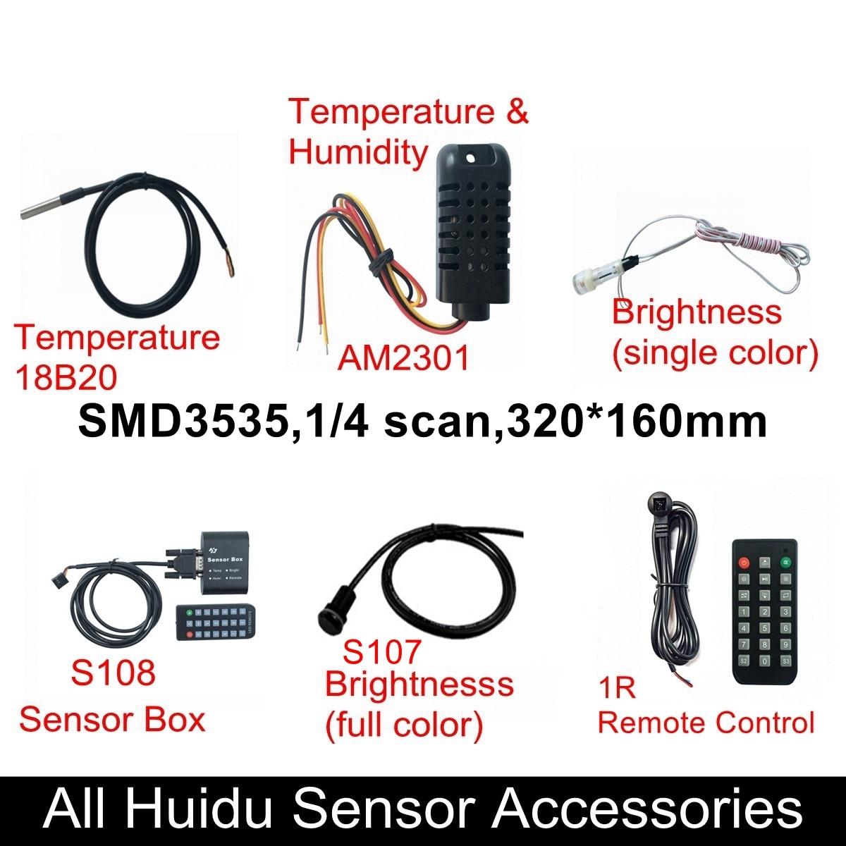 Huidu Sensors Temperature 18B20 Temperature And Humidity AM2301 Single RGB Brightness S107 S108 Box 1R Remote