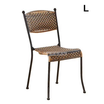 1Set 2pcs Rattan Weave Chair Simple PE Rattan Steel Frame Balcony Living Room Leisure Chair With Backrest For Adult L Size