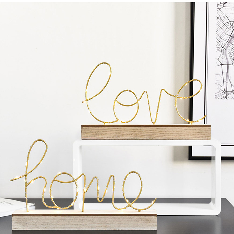 Battery Love Home Letter LED Lamp Home Love Shape Night Light Desk Table Decoration Bedroom Nightlight