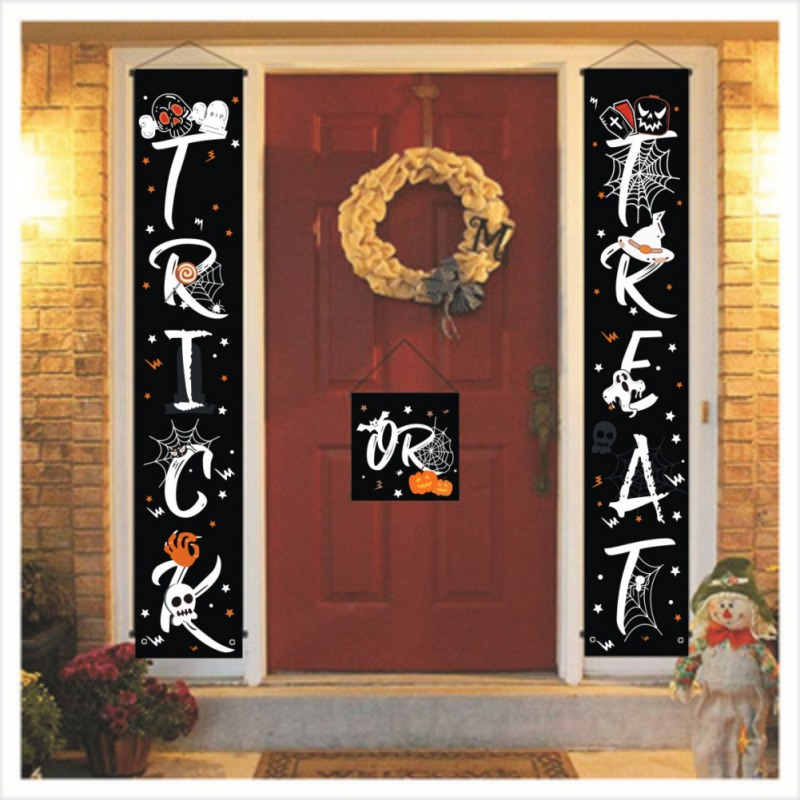 Trick Or Treat Banner Halloween Hanging Sign For Home Office Porch Front Door Display Decorations Halloween Door Decorations  #H
