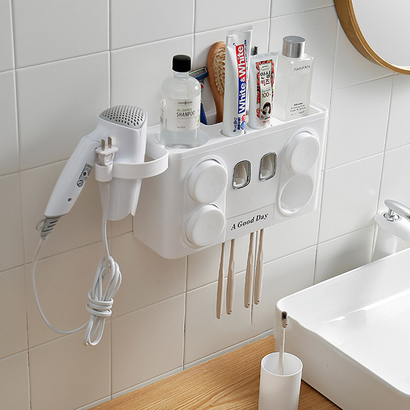 Image 4 - Family Tooth Brush Holder Set Easy Install Plastic Bathroom Toothbrush Storage Rack Toothpaste Dispenser with 4 Cup-in Toothbrush & Toothpaste Holders from Home & Garden