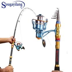 Sougayilang Telescopic Carbon Fiber Fishing Rod Sets and 14BB Spinning Reel Fishing Rod Reel Combo Fishing Trackle cana de pesca