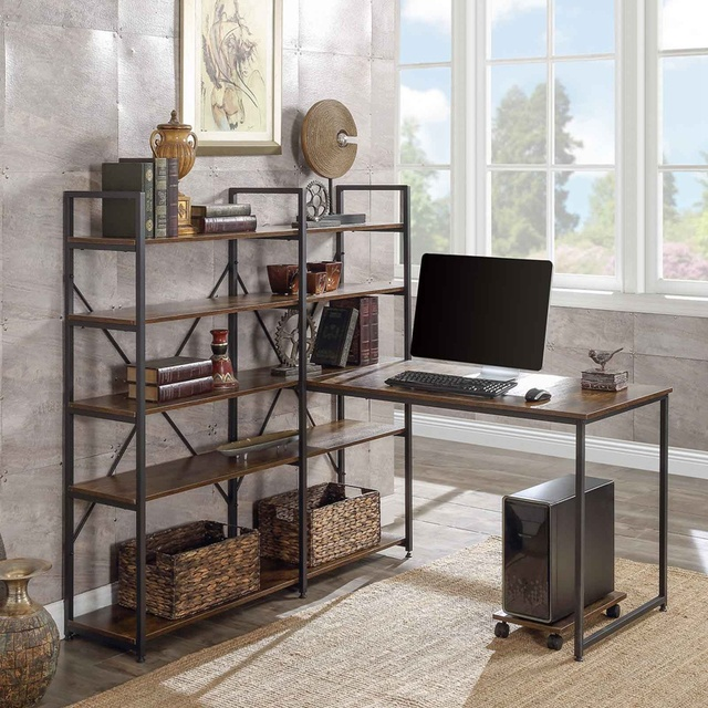 """Home Office 54"""" Large Computer Desk with 5-tier Shelves 1"""