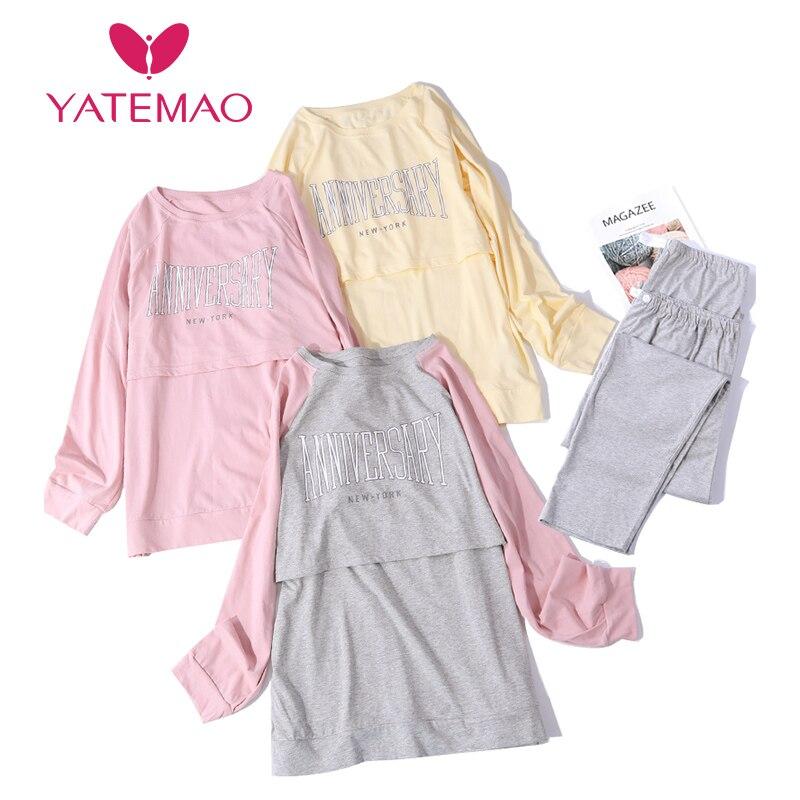 YATEMAO Long Sleeve Maternity Pyjama Nursing Clothes Maternity Pregancy Sleepwear Breastfeeding Clothing