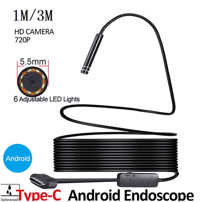 1/3m 7mm Endoscope Camera 2MP 6LED Type-C Endoscope Sealing USB 6LED Waterproof Inspection Camera Real-time Video For Android