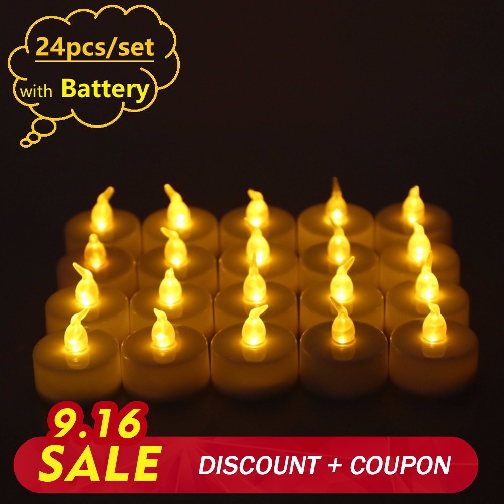 Rantion 24pcs/set Flickering Led Tea Light Candles Battery Flameless Electric Led Candle For Birthday Holiday Wedding Decor