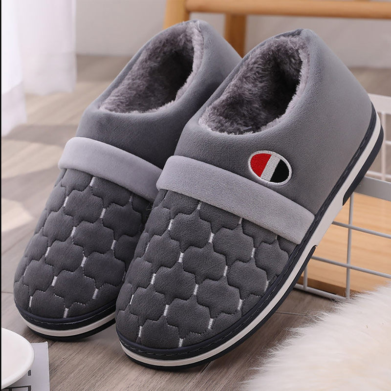 Plush Slippers Male Indoor Shoes Large Size 39-50 Rubber Warm Home Shoes Men 2019 Fashion Infradito Uomo