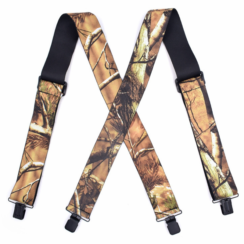 Camouflage Print Suspender Men Elastic Tactical X Shape Outdoor Leisure Style Widened 120*5CM High Quality Accessories Suspender