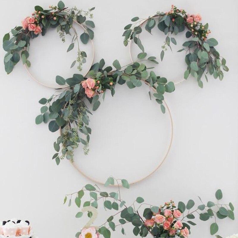 WEIGAO Wedding Decoration Metal Catcher Floral Hoop Wall Decor Hanging Artificial Eucalyptus Leaves Garland Bridal Shower Props