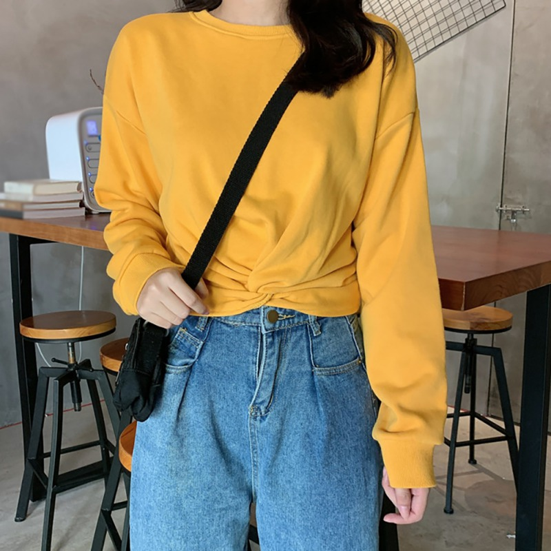 Autumn Women Solid Color Long Sleeved Bottoming Sweater Round Collar Slim Twisted  Loose Knitted Jumpers