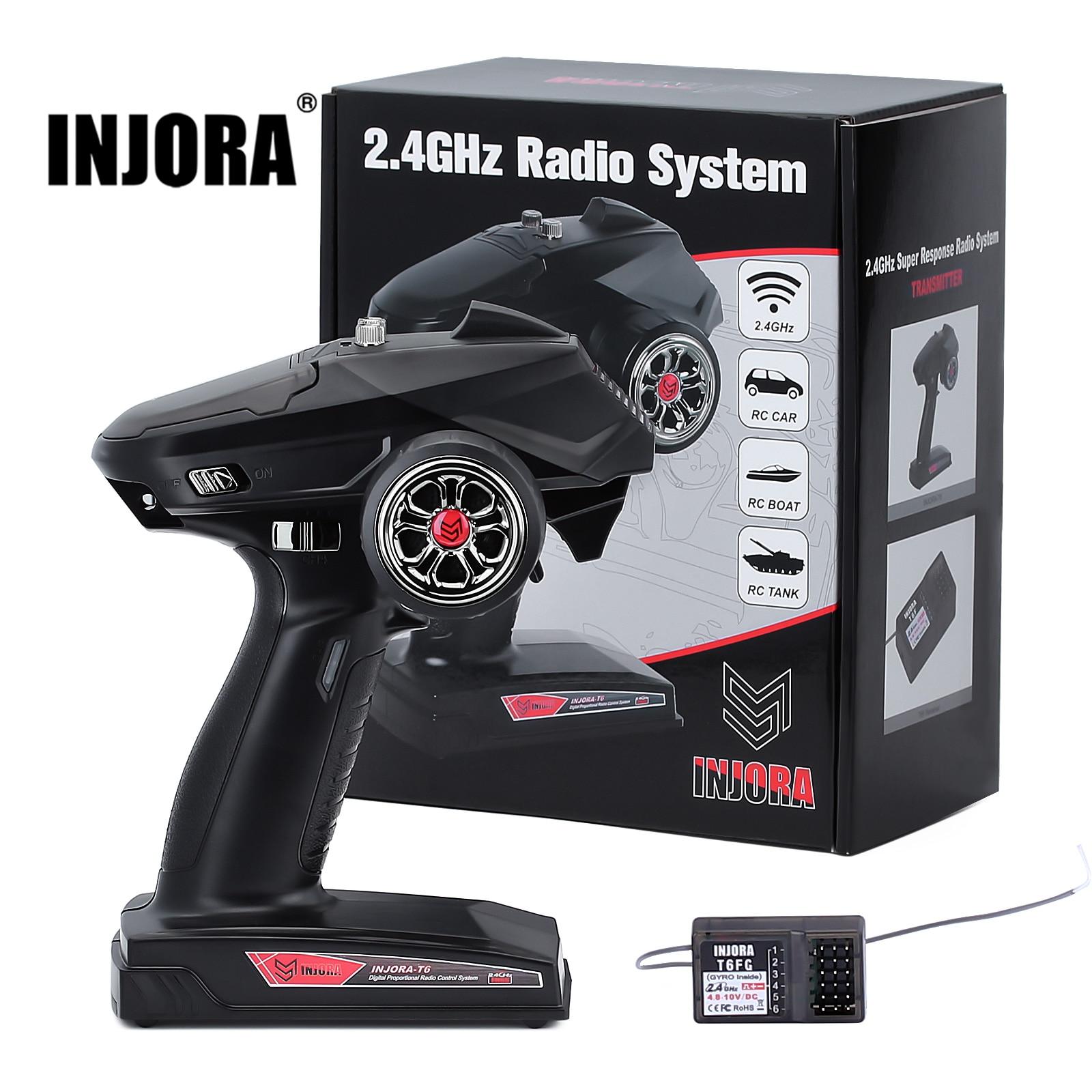 INJORA 6CH 2.4GHz uzaktan kumanda dijital radyo verici Gyro ile alıcı için 1/8 1/10 RC araba tekne tankı paletli TRX4 SCX10