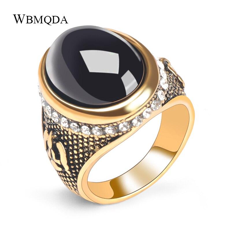 Wbmda Fashion Dubai Gold Men Ring Oval Black Stone Antique Ring Vintage Jewelry Wholesale 2019 New