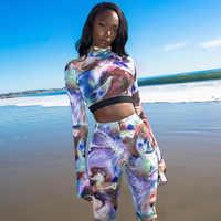 2020 stampa tie-dye variopinto sexy crop top leggings 2 pezzi set donne della molla nuova sportiva streetwear abiti tute