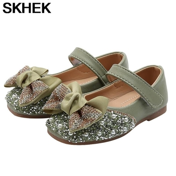 SKHEK Girls leather shoes Autumn Children girls baby princess bowknot sneakers pearl diamond single shoes Kids dance shoes abckids new spring autumn girls soft leather shoes children girls princess bowknot sneakers single shoes kids dance shoes rubber