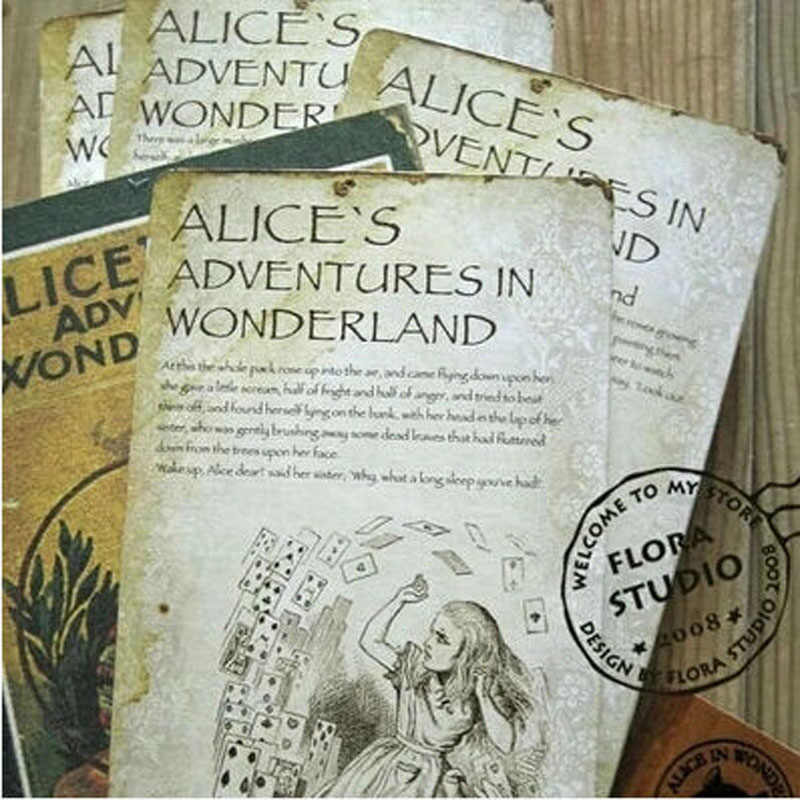 20pcs/lot NEW Vintage style Alice's Adventure in Wonderland post card set//Greeting Card/Christmas gift H007