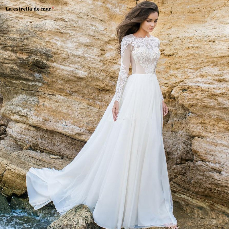 2019 Vintage Modest Long Sleeves Chiffon A Line Summer Beach Wedding Dresses Lace Applique Wedding Bridal Gowns With Buttons Rob
