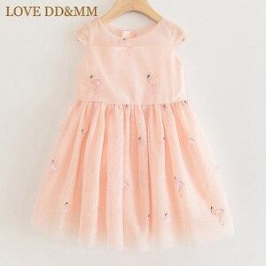 Image 3 - אהבה DD & MM בנות שמלות 2020 ילדים חדשים בגדים מתוק בעלי החיים פלמינגו רקום פאייטים רשת נסיכת שמלת ילדה 3 8 שנים
