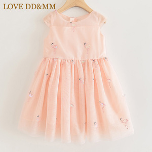 Image 3 - LOVE DD&MM Girls Dresses 2020 New Kids Clothing Sweet Animal Flamingo Embroidered Sequins Mesh Princess Dress For Girl 3 8 Years