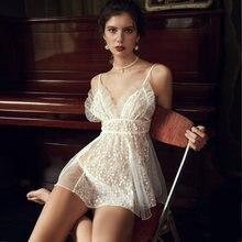 Pyjama en dentelle et Tulle translucide pour femmes, dos nu, col en v, robe à bretelles, vêtements de maison Sexy, vêtements de nuit avec culotte