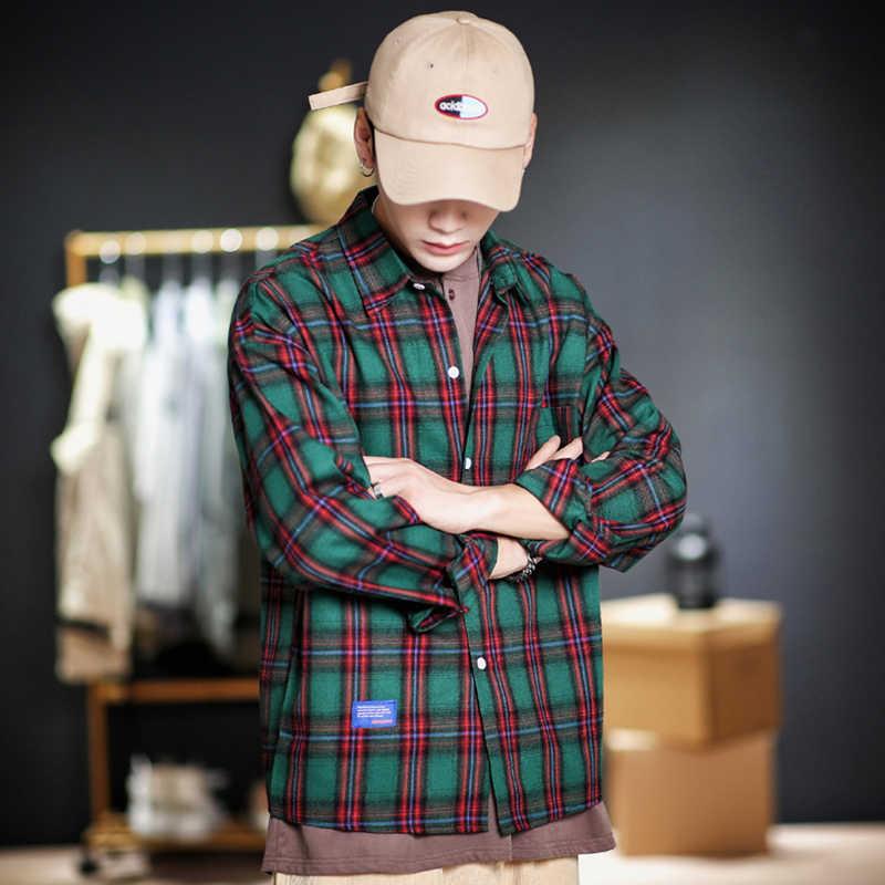 Koreaanse stijl mannen mode lange mouw plaid jurk mannelijke kleding 5xl streetwear 2019 herfst casual blauw geel shirts CS69