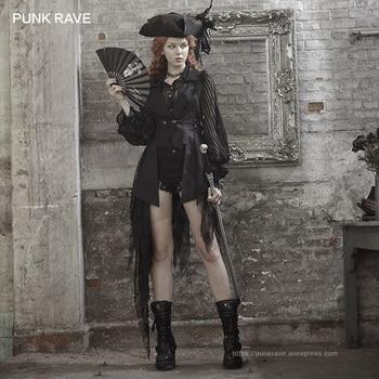 PUNK RAVE Steampunk Retro Style Women Black Jacket Gothic Fashion Asymmetric Coat Club Party Sexy Coat lace decoration