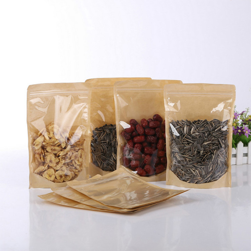 100pcs One Side Clear Kraft Paper Bag Snack Nuts Beans Packaging Paper Gift Pouch Stand Up Clear Window Ziplock Bag Pouches