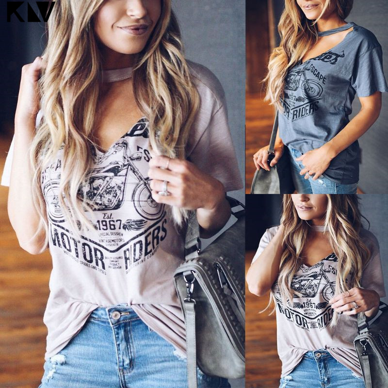 KLV Women Ladies Summer Vintage Print Casual Top Halter V Neck Loose T Shirt Tops