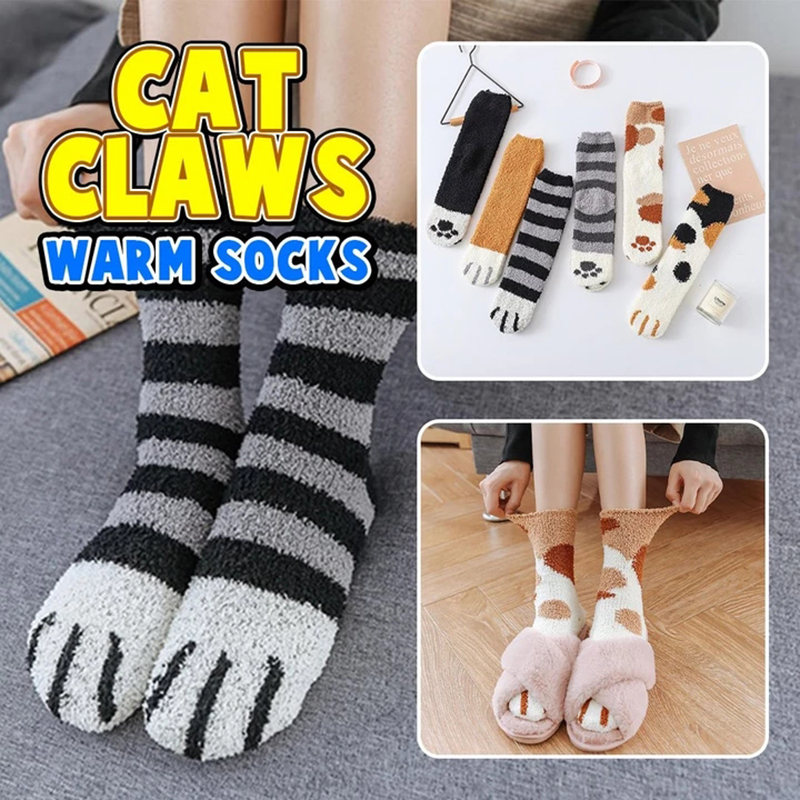 Plush Coral Fleece Socks Women Girls Cat Paw Cat Claws Cute Thick Warm Sleeping Floor Socks Dropship