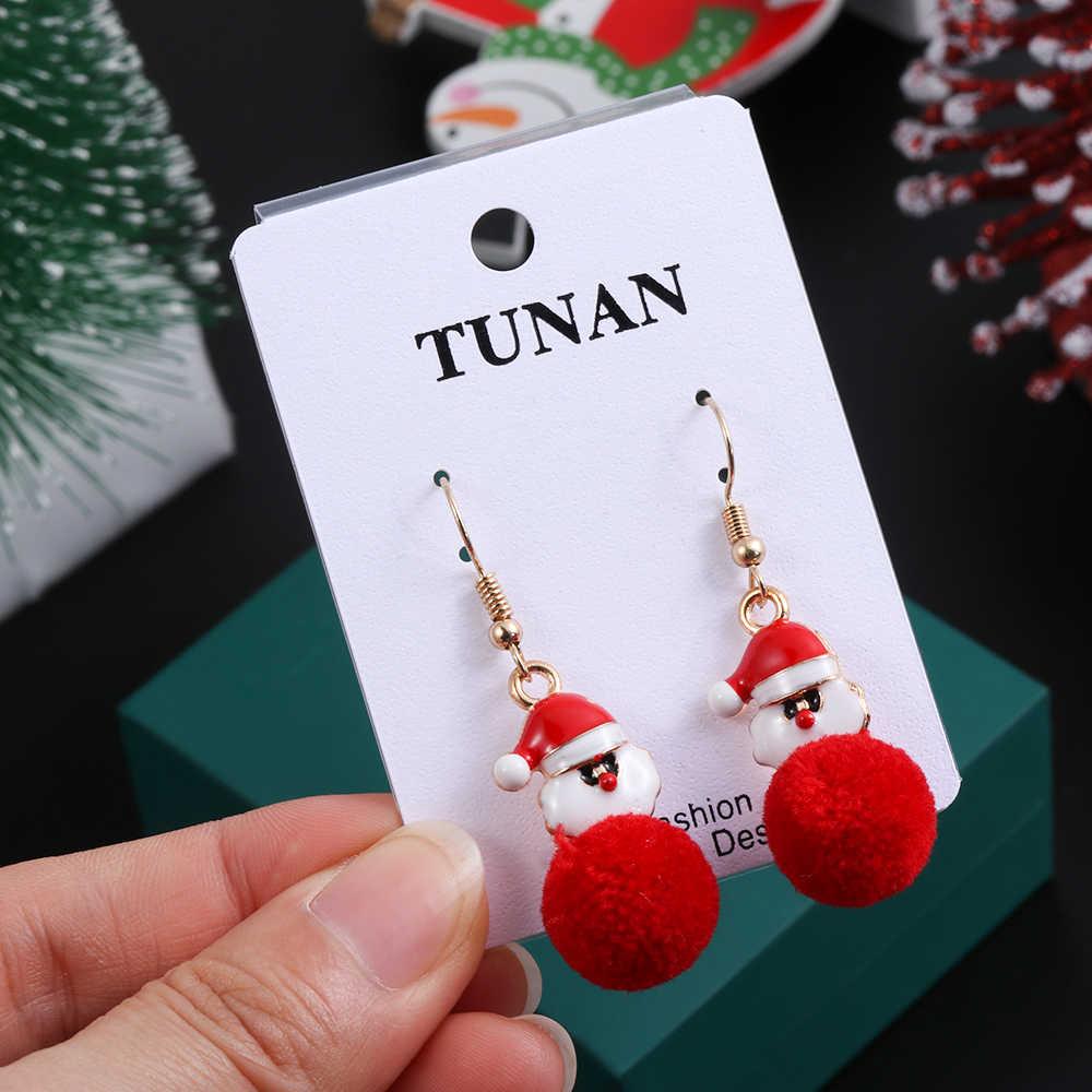 תכשיטים עגילי אדום קטיפה כדור מתנדנד עגילי חורף חג המולד עגילי לנשים כובע כפפות פתית שלג בנות מתנות