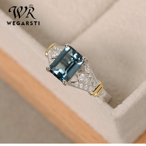 WERGARSTI S925 Sliver Jewelry Luxury Greenl Blue Big Square Crystal AAA Cubic Zirconia Silver Rings for Women Engagement Gift