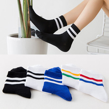 New retro Harajuku style tube cotton womens socks autumn and winter two bars solid color ladies sports